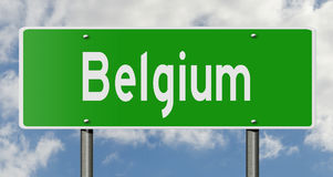 Highway sign for Belgium. A 3d rendering of a green highway sign for Belgium Stock Photo