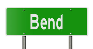 Highway sign for Bend Oregon. A 3d computer rendering of a green highway sign for Bend Royalty Free Stock Photos
