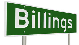 Highway sign for Billings Montana. A 3d rendering of a green highway sign for Billings Royalty Free Stock Image