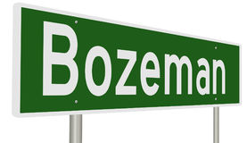 Highway sign for Bozeman Montana Stock Image