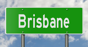 Highway sign for Brisbane Queensland Australia. A 3d rendering of a green highway sign for Brisbane Royalty Free Stock Photo
