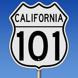 Highway sign for California Route 101. Rendering of a highway sign for coastal route 101 in California against blue sky Royalty Free Stock Images