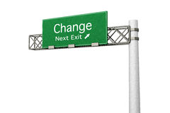 Highway Sign - Change. 3D rendered Illustration. Highway Sign next exit  to Change Stock Photo