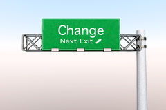 Highway Sign - Change. 3D rendered Illustration. Highway Sign next exit  to Change Royalty Free Stock Photos