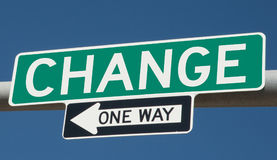 Highway sign for CHANGE and ONE WAY. Rendering of highway signs with the words CHANGE and ONE WAY Stock Images