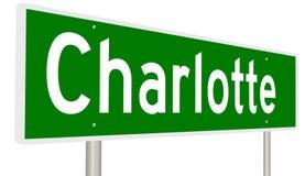 Highway sign for Charlotte North Carolina Royalty Free Stock Photos