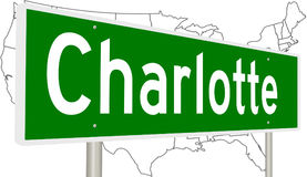 Highway sign for Charlotte North Carolina Royalty Free Stock Images