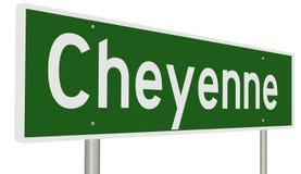 Highway sign for Cheyenne Wyoming Stock Photo