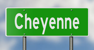 Highway sign for Cheyenne Wyoming Royalty Free Stock Image