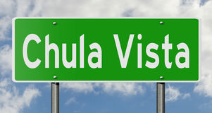 Highway sign for Chula Vista California. A 3d rendering of a green highway sign for Chula Vista Stock Photo