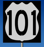 Highway sign for coastal route 101. Rendering of a highway sign for route 101 against blue sky stock illustration