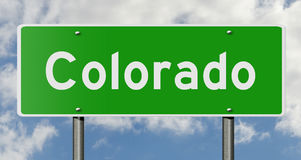 Highway sign for Colorado. A 3d computer rendering of a green highway sign for Colorado stock photography