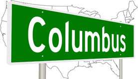 Highway sign for Columbus. A 3d rendering of a green highway sign for Columbus Ohio with United States map Royalty Free Stock Images