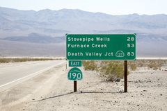 Death Valley Road Sign Royalty Free Stock Image