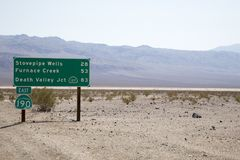 Death Valley Road Sign Stock Photography