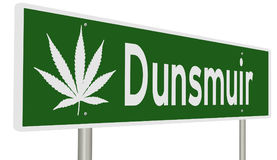 Highway sign for Dunsmuir California with marijuana leaf Royalty Free Stock Images
