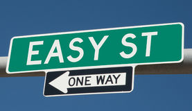 Highway sign for Easy Street Stock Image