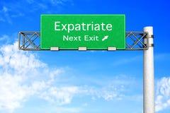 Highway Sign - Expatriate. 3D rendered Illustration. Highway Sign next exit to expatriation royalty free illustration