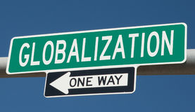 Highway sign with GLOBALIZATION and ONE WAY Royalty Free Stock Photography