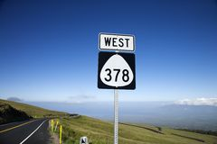 Highway sign in Haleakala Park Stock Photography