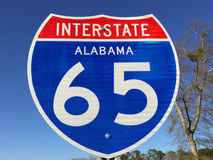 Highway sign for I-65 in Alabama Stock Photos