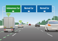 Highway sign illustration, autonomous car lane, normal car lane Stock Images