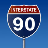 Highway sign for Interstate 90 Royalty Free Stock Photography