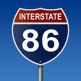 Highway sign for Interstate highway 86 Stock Image