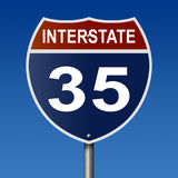 Highway sign for Interstate Route 35. A 3d rendering of a highway sign for Route 35 with blue sky Royalty Free Stock Image
