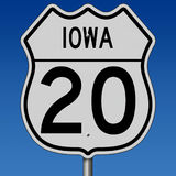 Highway sign for Iowa Route 20 Royalty Free Stock Photos