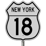 Highway sign for New York Route 18. A 3d rendering of a highway sign for Route 18 in New York Stock Image