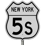 Highway sign for New York Route 5S. Rendering of a highway sign for Route 5S in New York Royalty Free Stock Image