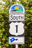 Highway sign No1 Florida keys Stock Photos