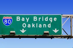 Highway sign for Oakland. USA stock photo