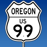 Highway sign for Oregon Route 99. A 3d rendering of a highway sign for Oregon Route 99 with blue sky Stock Image
