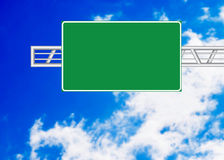 Highway sign. Over blue sky stock photo