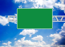 Highway sign. Over blue sky stock image