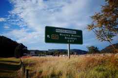 Highway sign at Pacific Highway Mooney Mooney Brooklyn Australia. Highway sign at Pacific Highway B83 at Mooney Mooney and Brooklyn exit, New South Wales royalty free stock photos