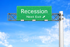 Highway Sign - Recession Stock Images