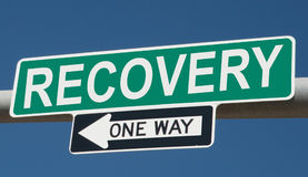 Highway sign with RECOVERY and ONE WAY Royalty Free Stock Photography