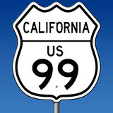 Highway sign for Route 99 in California. Rendering of a highway sign for California Route 99 with blue sky royalty free illustration
