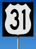 Highway sign for Route 31. A 3d rendering of a highway sign for Route 31 with blue sky Stock Images