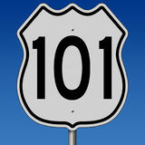 Highway sign for Route 101. A 3d rendering of a highway sign for West Coast Route 101 Royalty Free Stock Photography