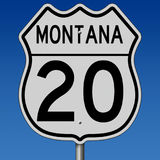 Highway sign for Route 20 in Montana Royalty Free Stock Photo