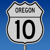 Highway sign for Route 10 in Oregon Royalty Free Stock Images