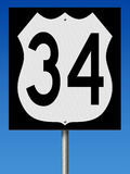 Highway sign for Route 34 Royalty Free Stock Image