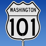 Highway sign for Route 101 in Washington. Rendering of a highway sign for coastal route 101 in Washington Royalty Free Stock Photo