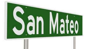 Highway sign for San Mateo California. A 3d rendering of a green highway sign for for San Mateo in the San Francisco Bay Area Stock Photo