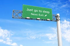 Highway Sign - Sleep. 3D rendered Illustration. Highway Sign - Next exit to get some sleep Stock Image