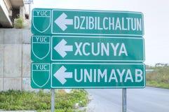 Highway sign to Dzibilchaltun Stock Photo